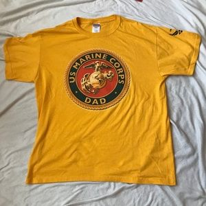 Jerzees Shirts - US Marine Corps Dad Yellow T-Shirt L